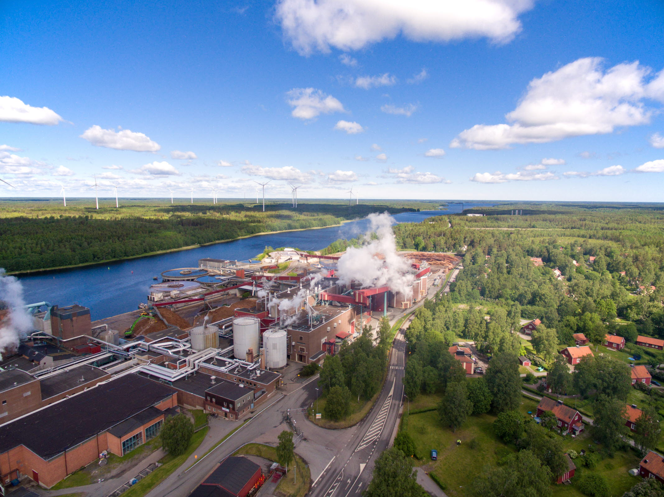 Aerial photo of Hallsta paper mill on a sunny summer day